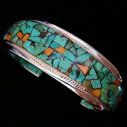CORN ROW NAVAJO STERLINGSILVER BRACELET TURQUOISE ANDE SPINY