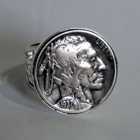 Indian Warrior Coin 1900 Sterlingsilver Ring