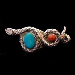 Bague Serpent Argent Turquoise & Corail