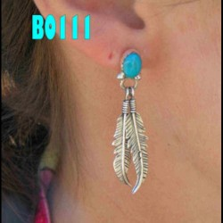 Feathers and Cabochon Color Choice Sterlingsilver Earrings