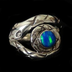 Snake & Stone Cabochon Sterlingsilver Ring Color Choice