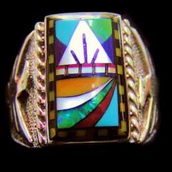 Navajo Symbol Inlay & Thunderbird Sterlingsilver  Signet Ring For Man Model 2