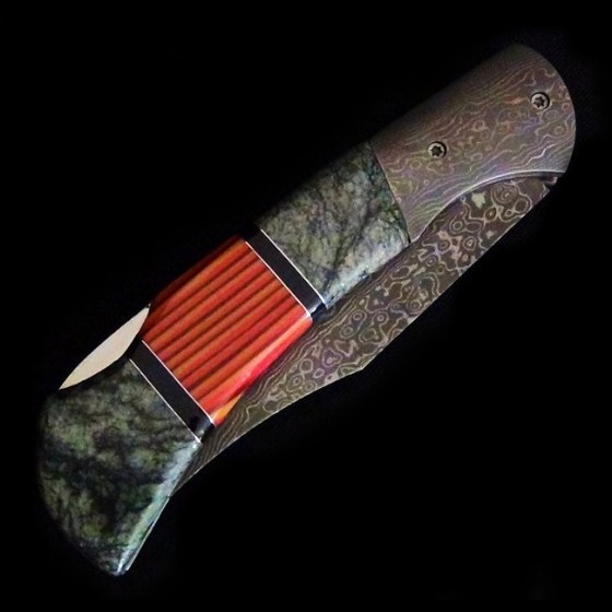 Serpentine Damascus Folding Knife