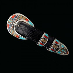 Western Navajo Inlay Sterlingsilver Belt Buckle Set For Man For Woman