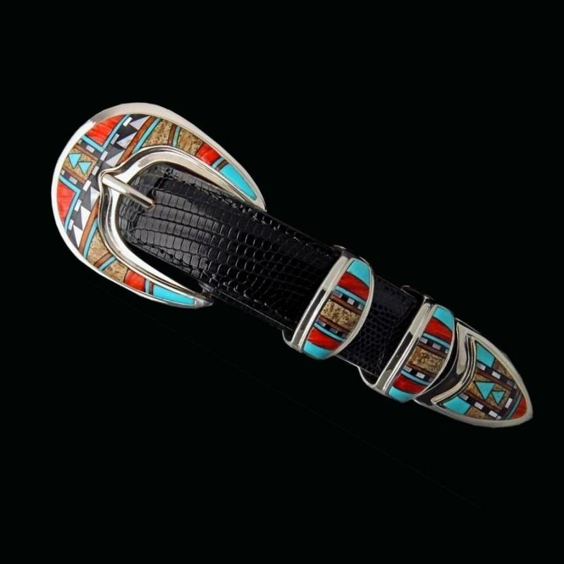 pas mal e8b84 71191 Boucle de ceinture Western Navajo Mosaique Inlay en Argent 925 Pour...