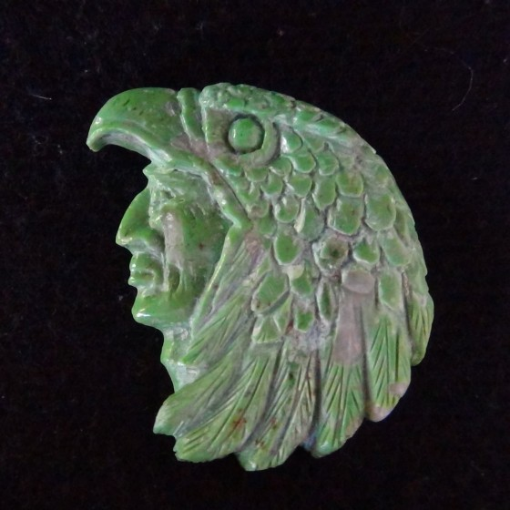 Green Turquoise Eagle Dancer Handcarving for Pendant or Bracelet