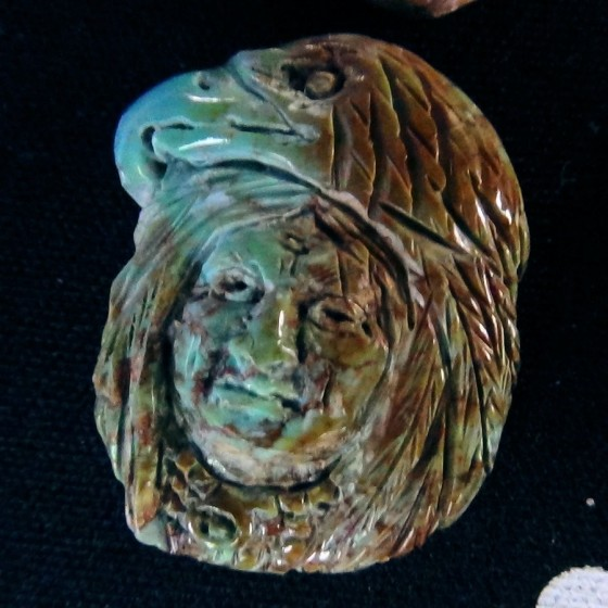 Handcarved Turquoise Shamman and Eagle Head