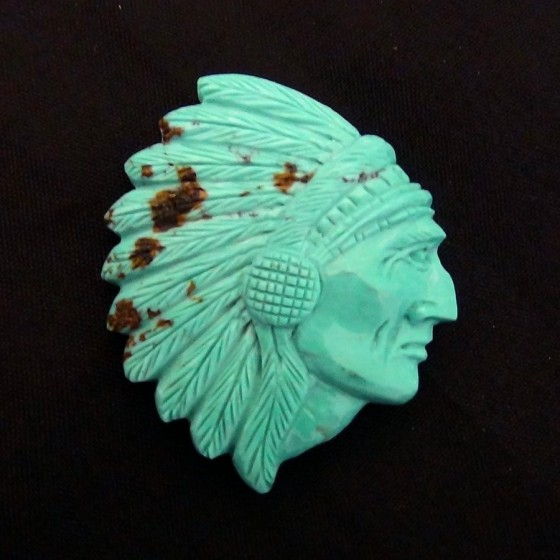 Indian Chief War Bonnet Handcarved Turquoise