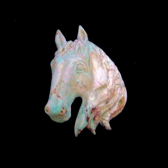 Horse Head Handcarved With Turquoise For Pendant or Bracelet