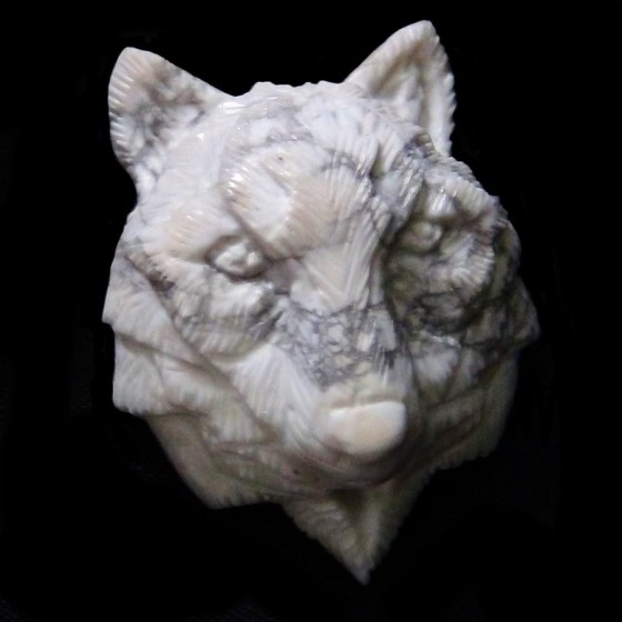 White Buffalo Stone Handcarved Wolf Head for Pendant or Bracelet