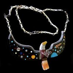 Universe Cosmic Sterlingsilver Eagle Gemstones Inlay