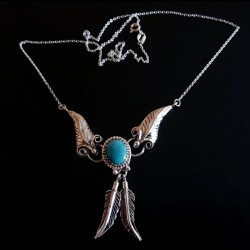 Oval Cabochon Color Choice and feather Sterlingsilver Necklace