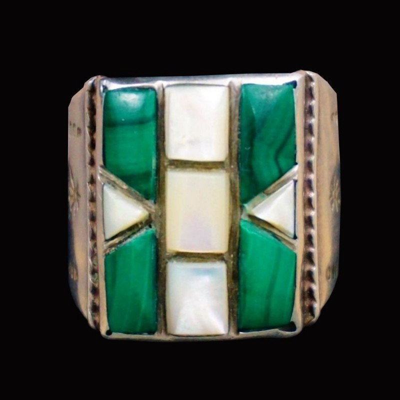 Mother of Pearl Malachit Navajo Rectangular Channel Inlay Sterlingsilver Ring For Man