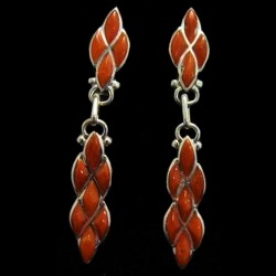 Navajo Zuni Dangle Sterlingsilver Earrings Color Choice