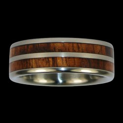 Bandring Couple Wedding Ring with a  Wood Inlay