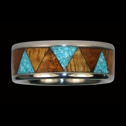 Bandring Couple Wedding Sterlingsilver Ring Wood and Gemstone Inlay Color Choice