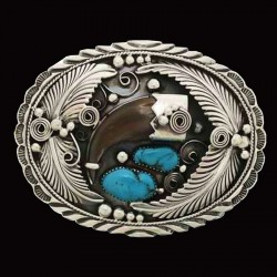 Bearclaw and 2 Turquoises Sterlingsilver Belt Buckle