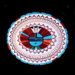 Boucle de Ceinture en Argent 925 Dieu Soleil Zuni