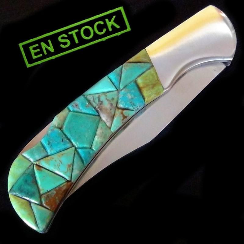 Turquoise Inlay Folding Knife