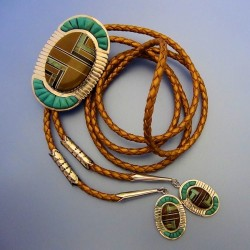 Channel Inlay Turquoise Navajo Sterlingsilver Bolo-Tie