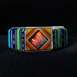 Navajo Design Multi Color Sterlingsilver Bandring