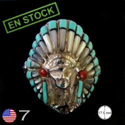Indian War Bonnet Sterlingsilver Ring Size 7