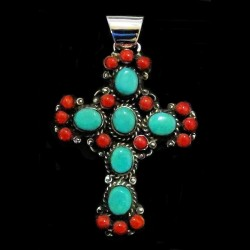 Red Coral and Turquoise Navajo Cross Pendant