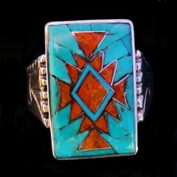 Navajo Sterlingsilver Ring Turquoise & Coral