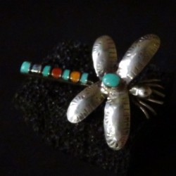 Navajo Sterlinsilver Dragnfly Pin Brooch with Gemstones Cabochons
