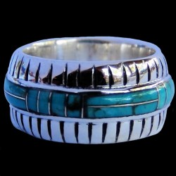 Gemstone Color Choice Sterlingsilver Bandring  Channel Inlay