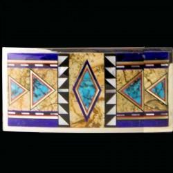 Rectangular Navajo Pattern Sterling silver Belt Buckle