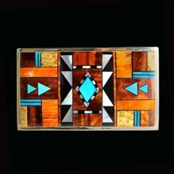 Turquoise Spiny Oyster Shell Navajo Pattern Rectangular Silver Belt Buckle