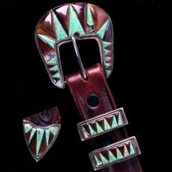 Horn and Turquoise Overlay Ranger Sterlingsilver Belt buckle