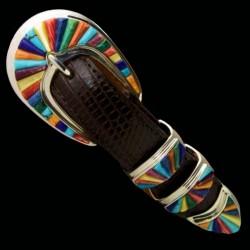 Multicolor Gemstones Overlay Ranger Sterlingsilver Belt buckle