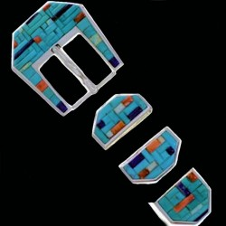 Turquoise Cobblestone Inlay Sterlingsilver Belt Buckle