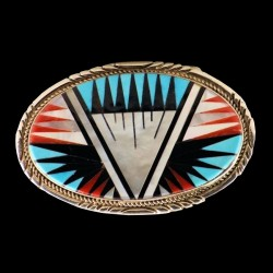 Oval Belt Buckle With Colorful finest Zuni Inlay of Turquoise, Red Coral, and Jet Stone