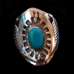 TURQUOISE NAVAJO STERLING SILVER RING