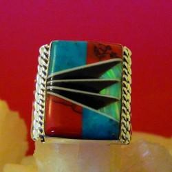 Rectangular Inlay Zuni Sterlingsilver Ring