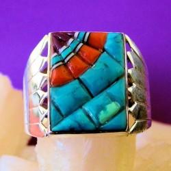 Rectangular Overlay Sterlingsilver Ring For Man