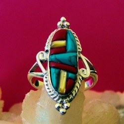 Mother of Pearl, Turquoise & Coral Overlay Sterlingsilver Ring For Woman