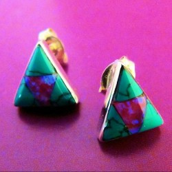 OPAL AND TURQUOISE TRIANGULAR SILVER EARRINGS