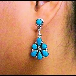 Color Choice Flower Teardrops Cabs Sterlingsilver Earrings