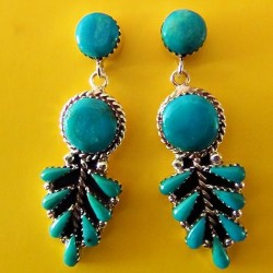 STERLING SILVER FEATHER TURQUOISE EARRINGS