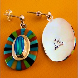 Boucles d'Oreilles Amerindiennes Argent Fleur Opal et Pierres Multicolores