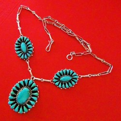 Flower Teardrops Inlay Navajo Zuni Sterlingsilver Necklace