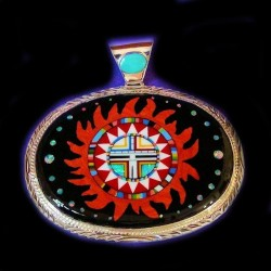 Navajo Sungod Face Nite Yei Sterlingsilver Pendant