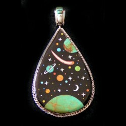 STERLING SILVER REVERSIBLE PENDANT UNIVERSE COSMOS
