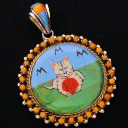 INLAID STONE CAT STERLING SILVER