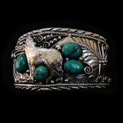 Howling Wolf and Turquoise Cabochons Sterlingsilver Bracelet