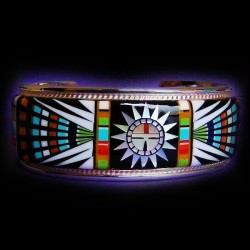 Zuni Sungod Face Sterlingsilver Bracelet with Semi Precious Stones Inlay